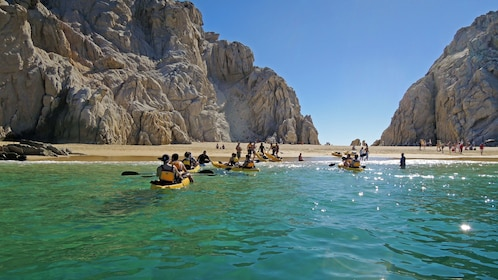 Kayaking near the shore in Los Cabos
