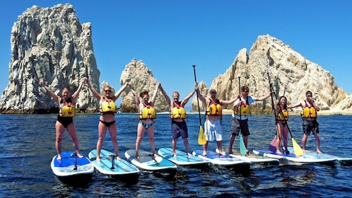 Group of paddle boarders in Los Cabos