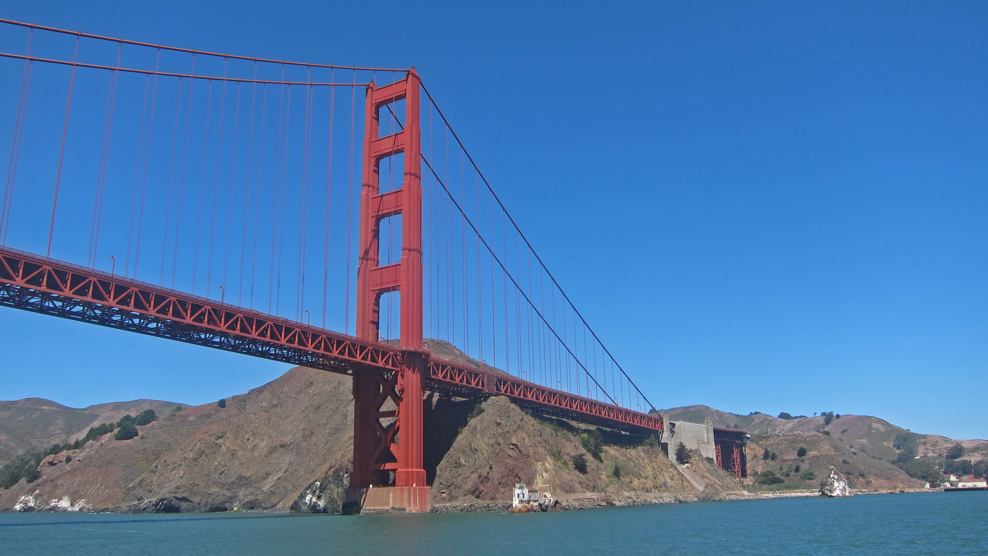 View of the Golden Gate Bride from the water in San Francisco