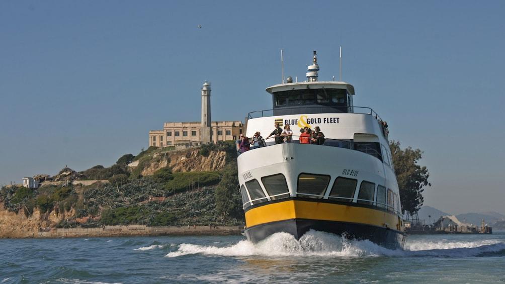 Show item 1 of 11. Cruise boat near Alcatraz Island near San Francisco