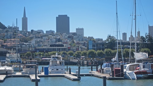 Boats moored in the marina in San Francisco