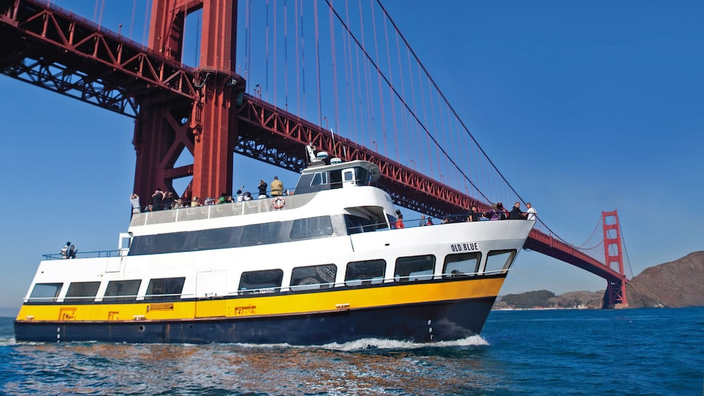 Show item 1 of 10. Cruise boat near Golden Gate bridge near san francisco