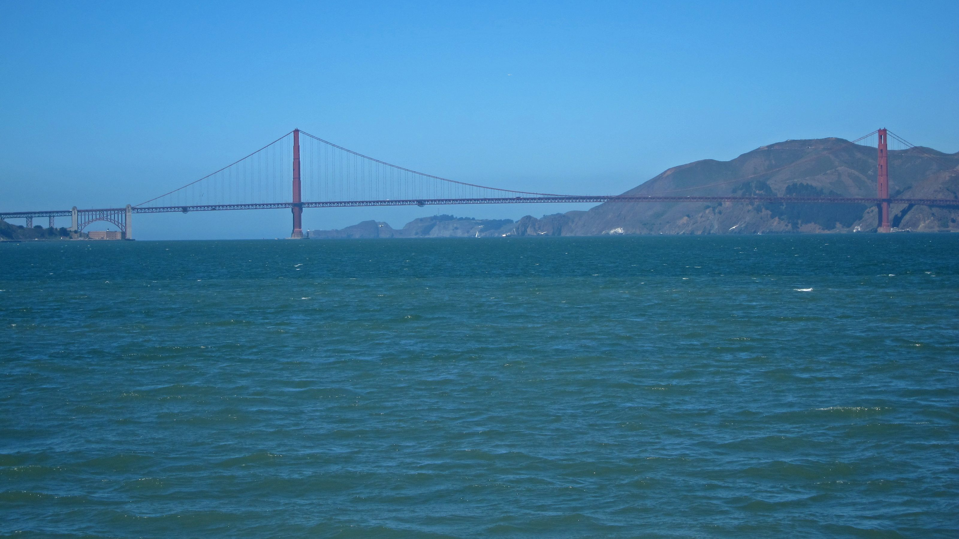 View of Golden Gate Bridge in the distances while on cruise