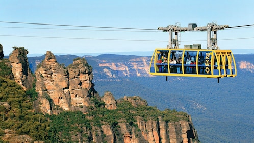 observing the rocky mountaintops from the cablecar in Australia