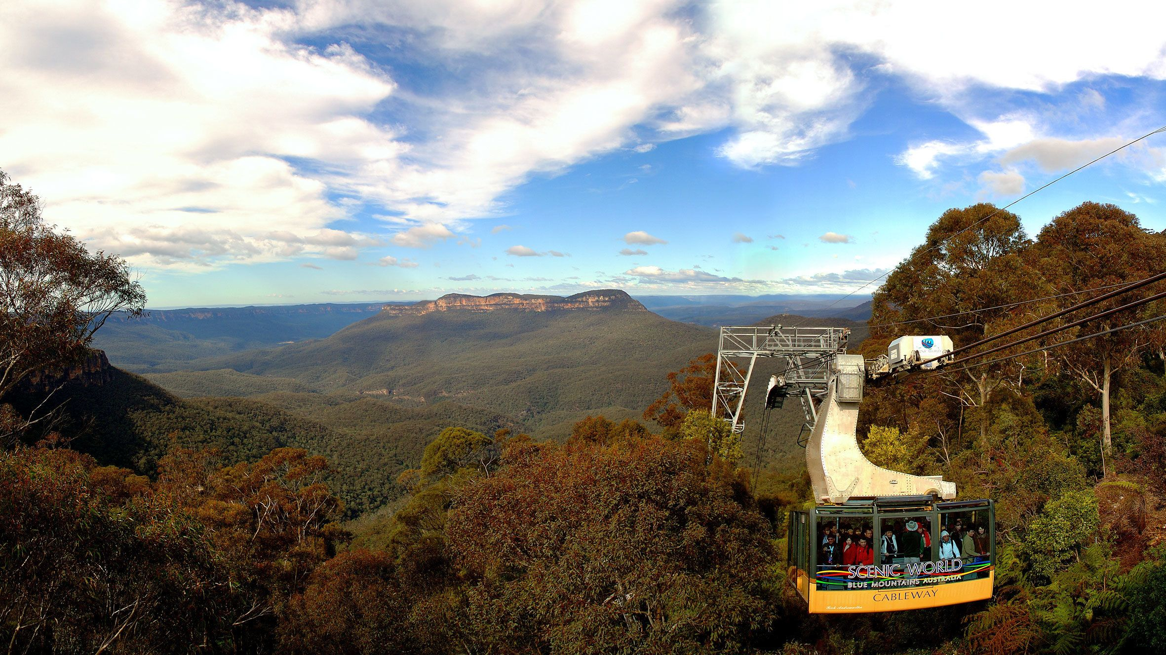 taking the cableway up the mountain in Australia