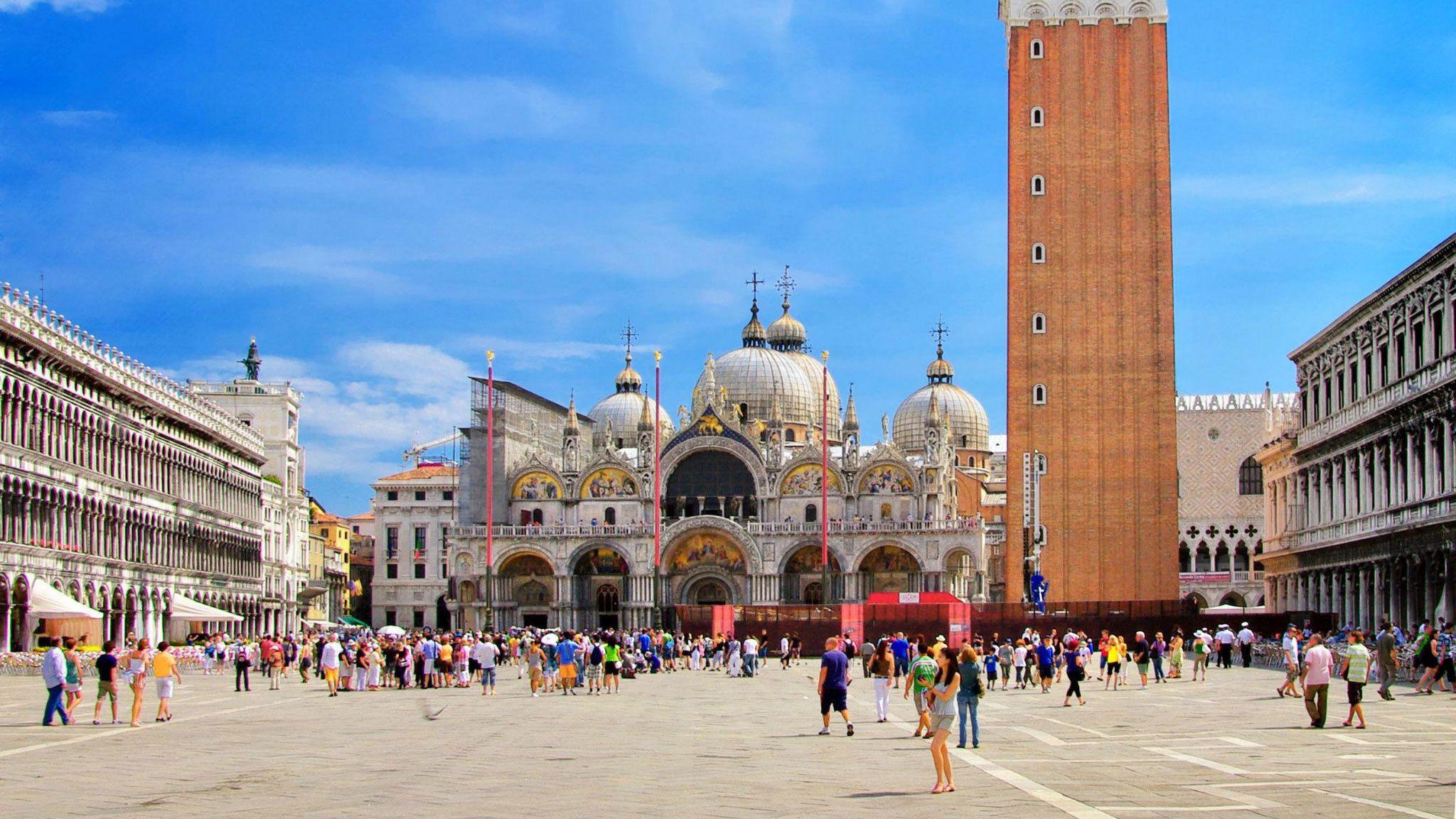 the San Marco Campanile next to Saint Mark's Basilica in Venice