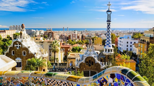 View from mosaic terrace of Park Guell in Barcelona
