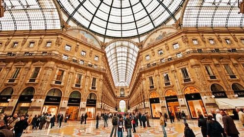 busy shopping center in Milan