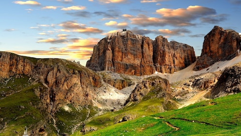 the green and rocky mountainous landscape of Dolomites