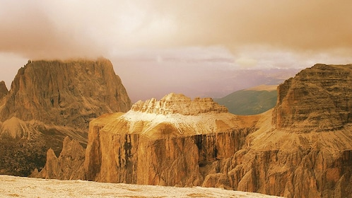 the cold and rocky mountains at Dolomites