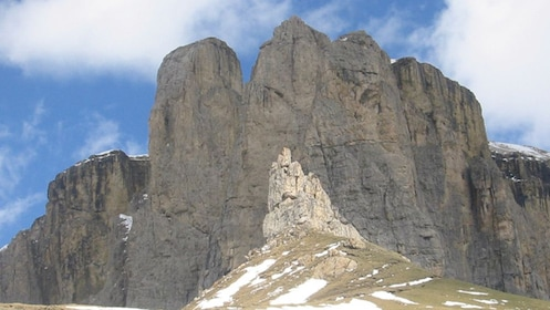 steep rocky mountains at Dolomites