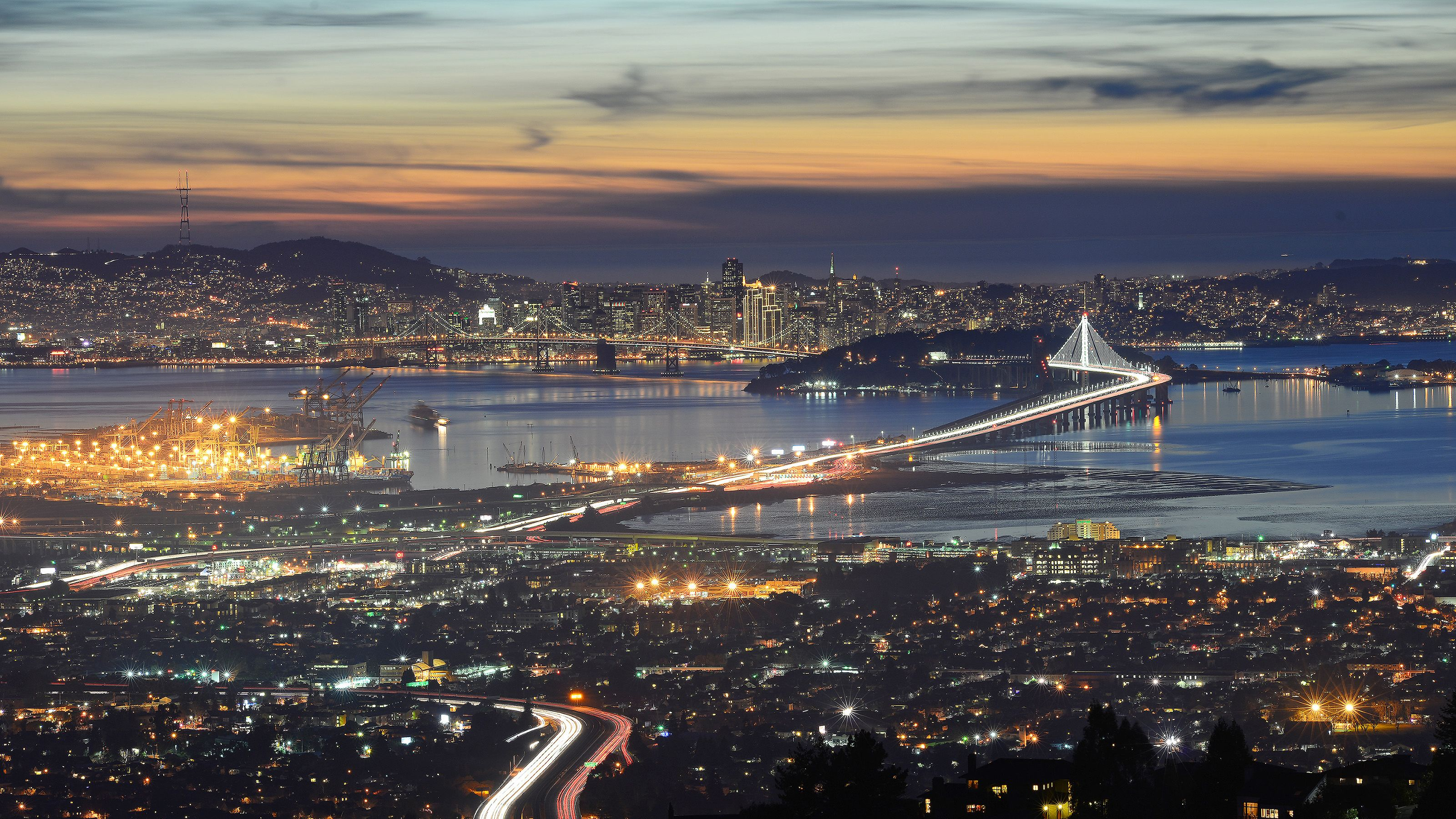 Panoramic view of the city at night in San Francisco