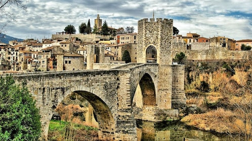 Old stone bridge of a historic town of Spain