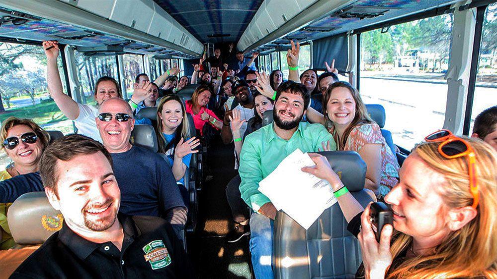 Bus passengers visiting breweries in Atlanta