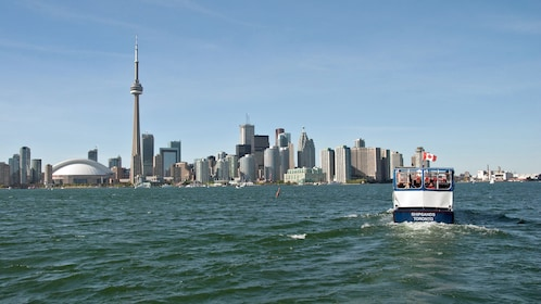Cruise boat and city skyline in Toronto