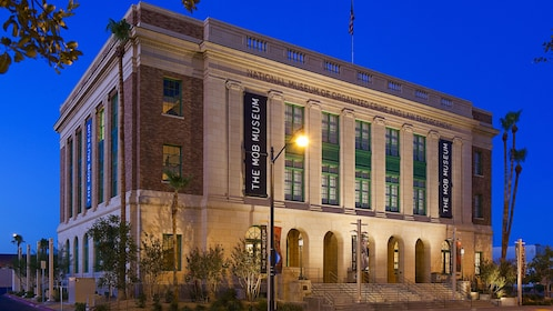 Exterior of the Mob Museum at night
