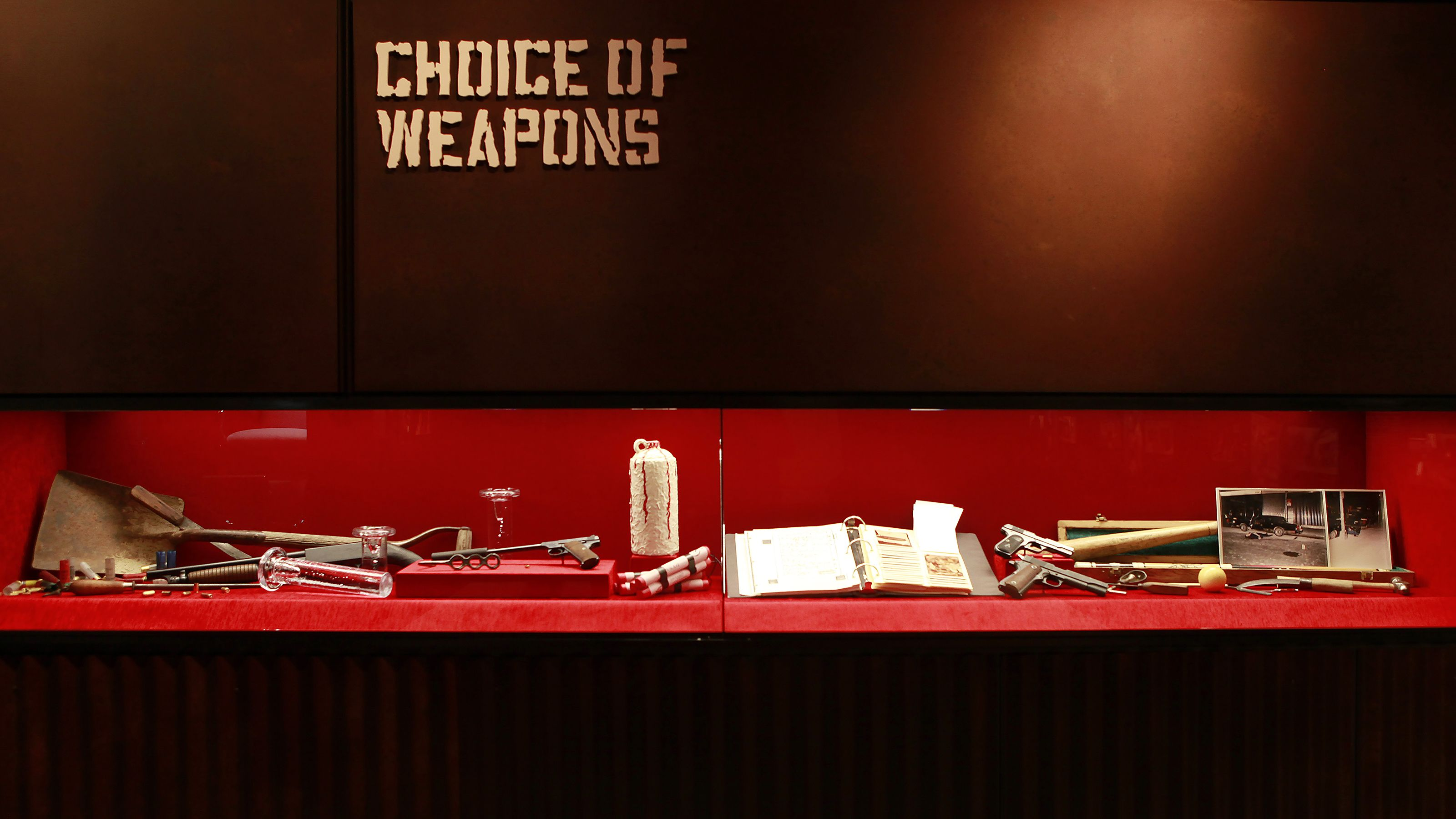 Choice of Weapons exhibit at the Mob Museum in Las Vegas
