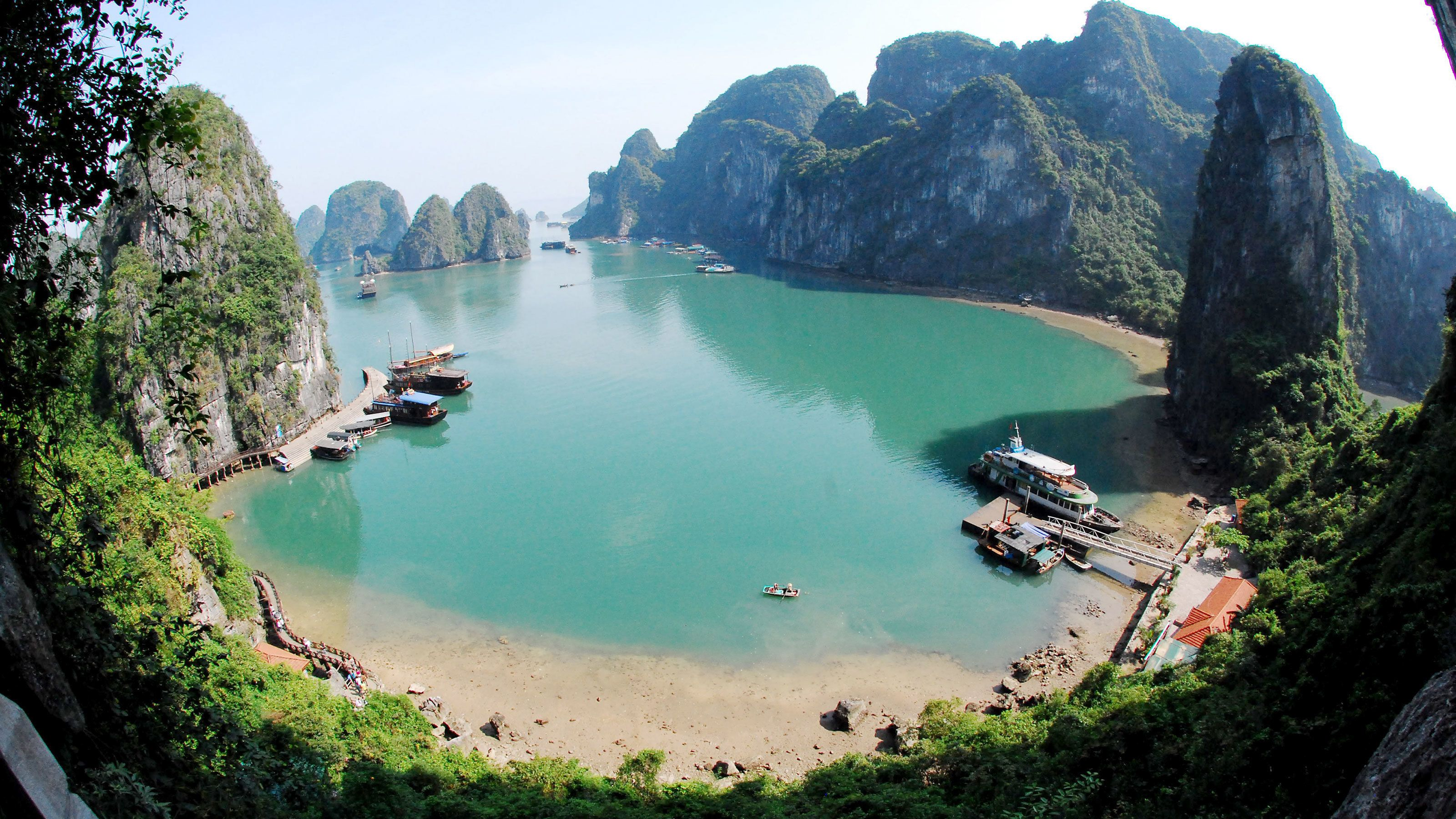 Secluded beach in Halong Bay