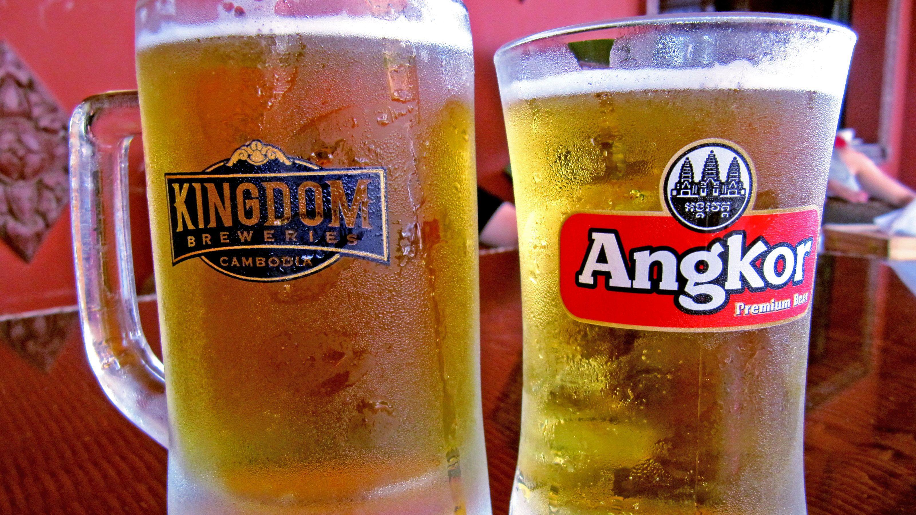 Mugs of beer in Siem Reap