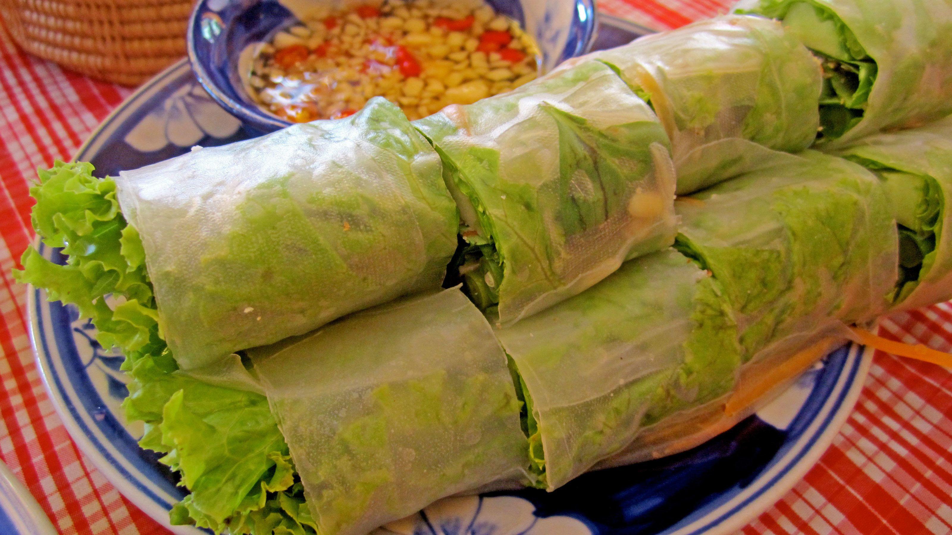 Plate of spring rolls in Siem Reap
