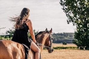 Mont-Saint-Michel, horse riding along the bay
