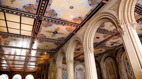 Lower passage of the Bethesda Terrace in Central Park with arches and decorative ceiling in New York