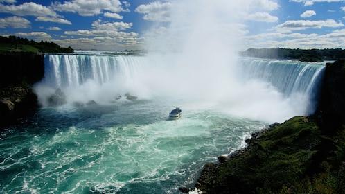 passenger boat near the bottom of the waterfall at Niagara