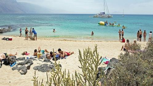 Enjoying the sun at the beach in Lanzarote