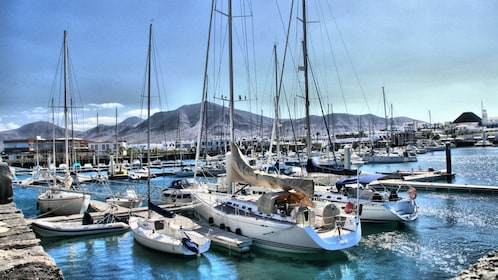 Boats docked in Lanzarote