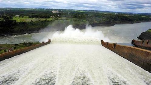 Rushing water at the Itaipu Dam in Iguazu