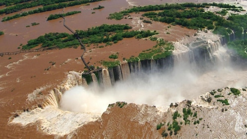 muddy water at the waterfalls in Brazil