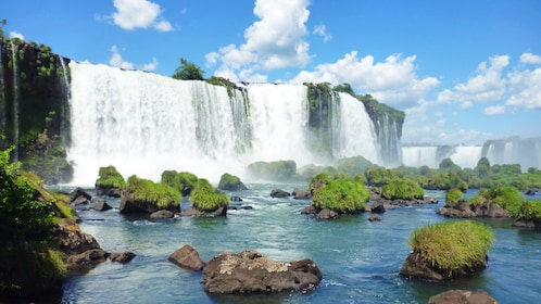 rocks covered in plants near the waterfalls in Brazil
