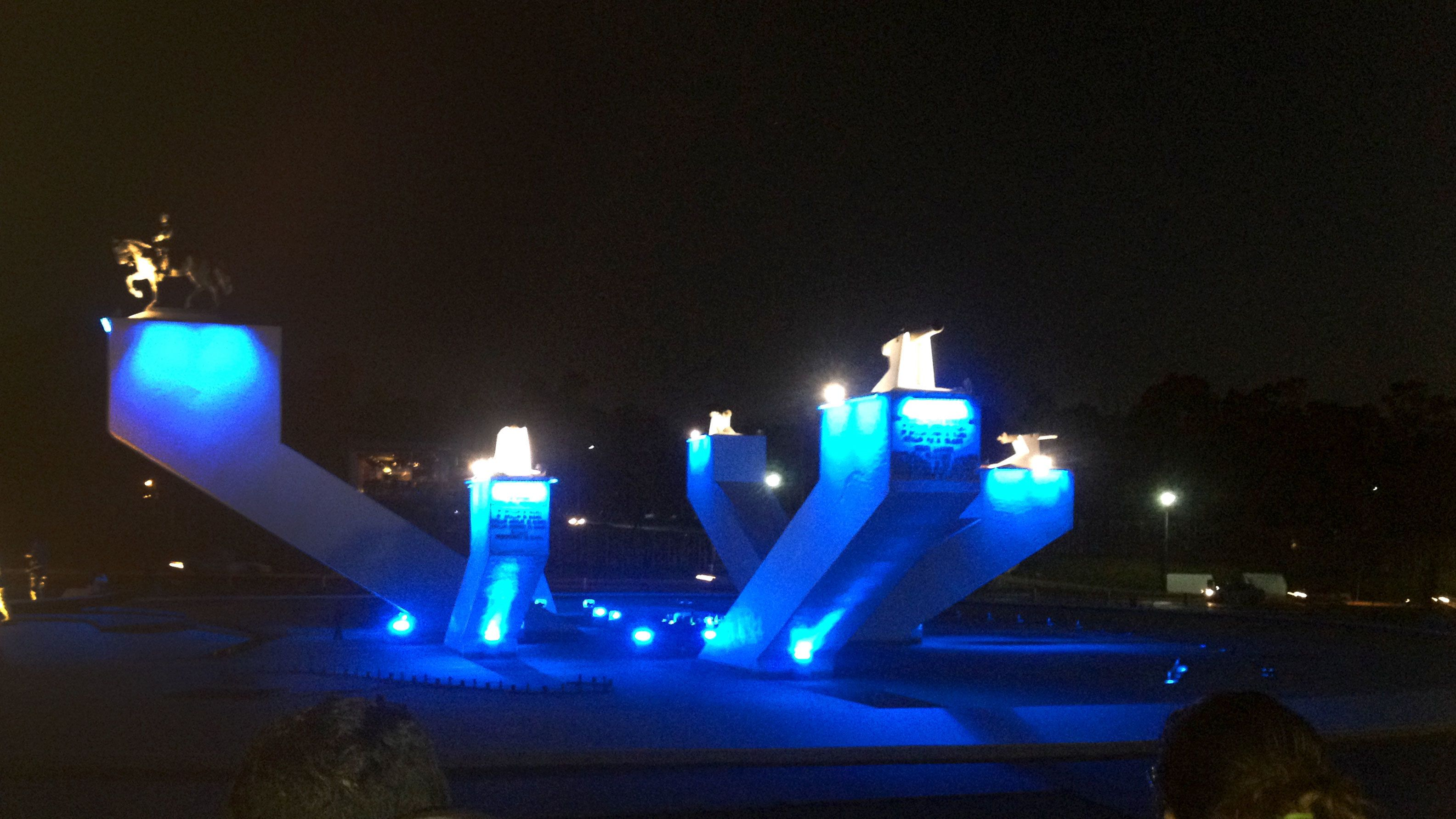 Large artwork in park at night in Puebla