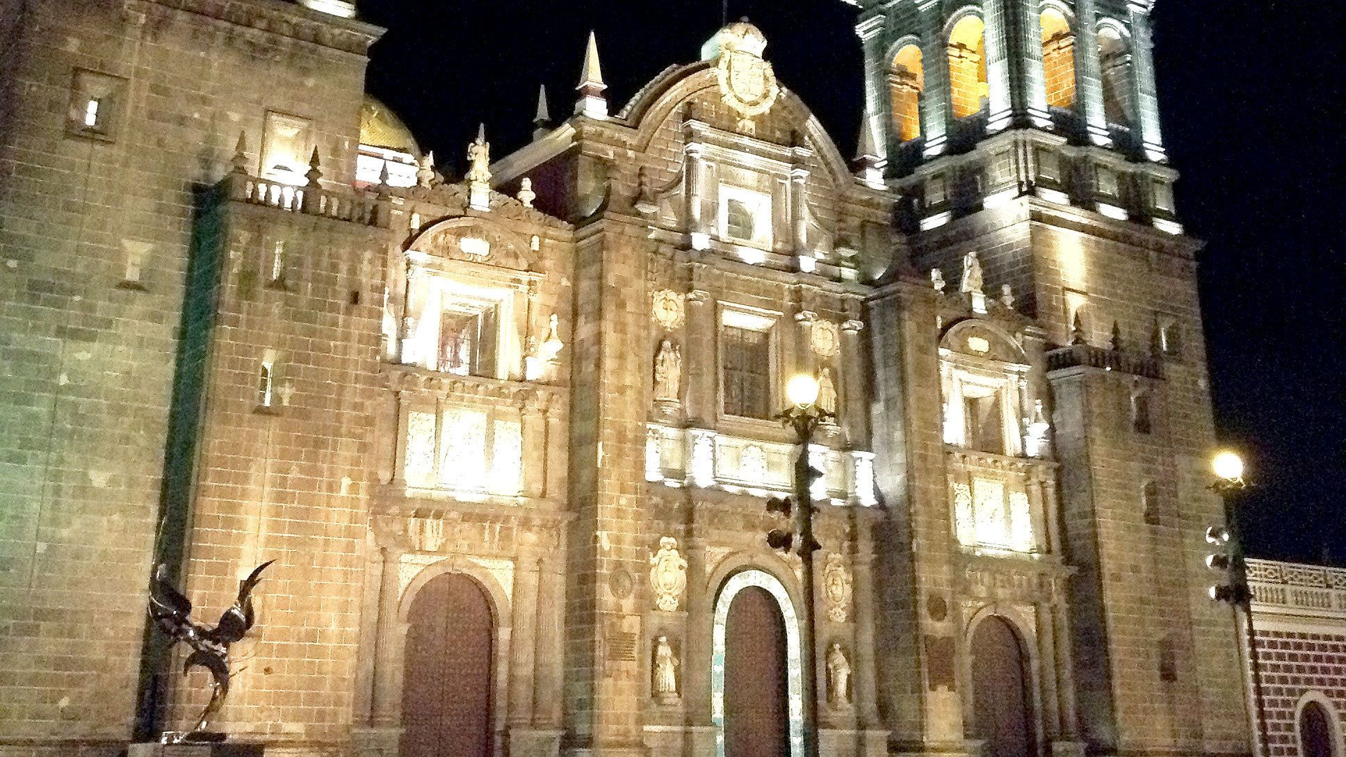 Close up of cathedral at night in Puebla