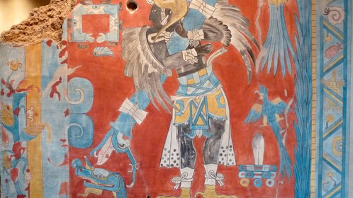 Part of a colorful mural at a temple in Cacaxtla