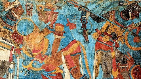 Brightly painted mural at a temple in Cacaxtla