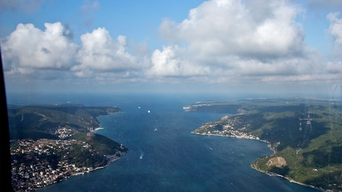 View of the Bosphorus strait from a helicopter in Istanbul