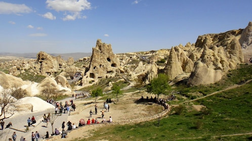 Tourists gather at the Goreme Open-air Museum in Cappadocia