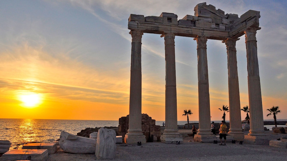 Show item 1 of 5. The ruins on the coast in Perge at sunset