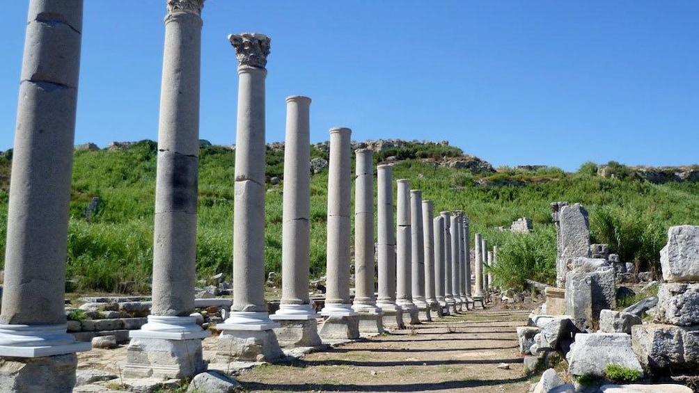 Show item 3 of 5. Columns line a pathway in Perge