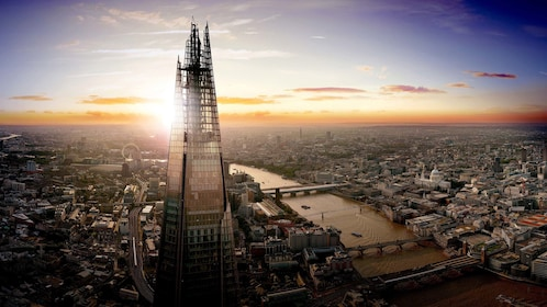 The Shard Building in London at dusk
