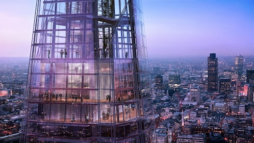The View from the Shard observation deck looking down at the city in London