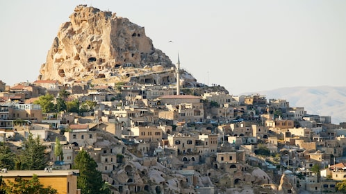 Buildings built into a hillside in Cappadocia