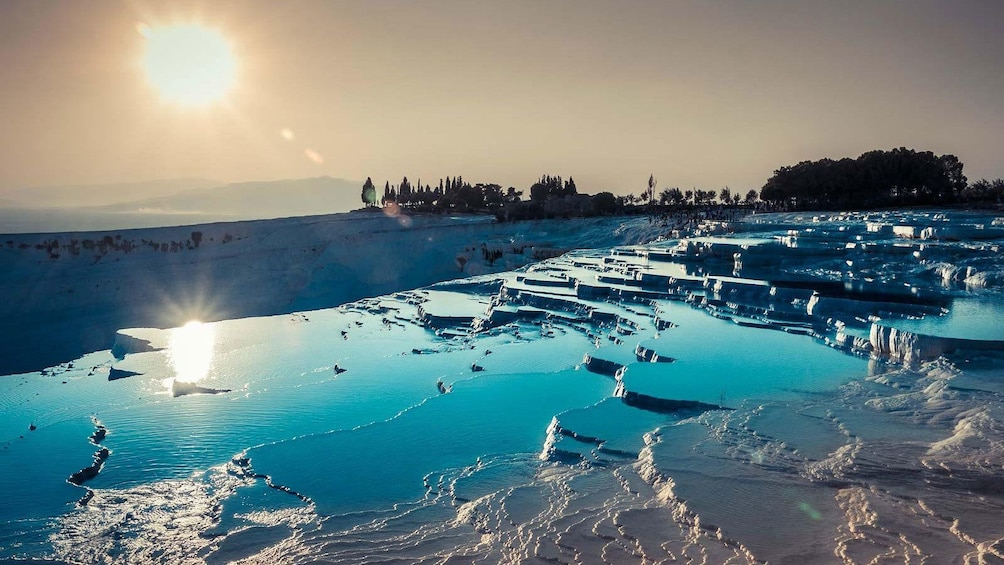 Show item 1 of 5. Shining pools in Pamukkale at sunset