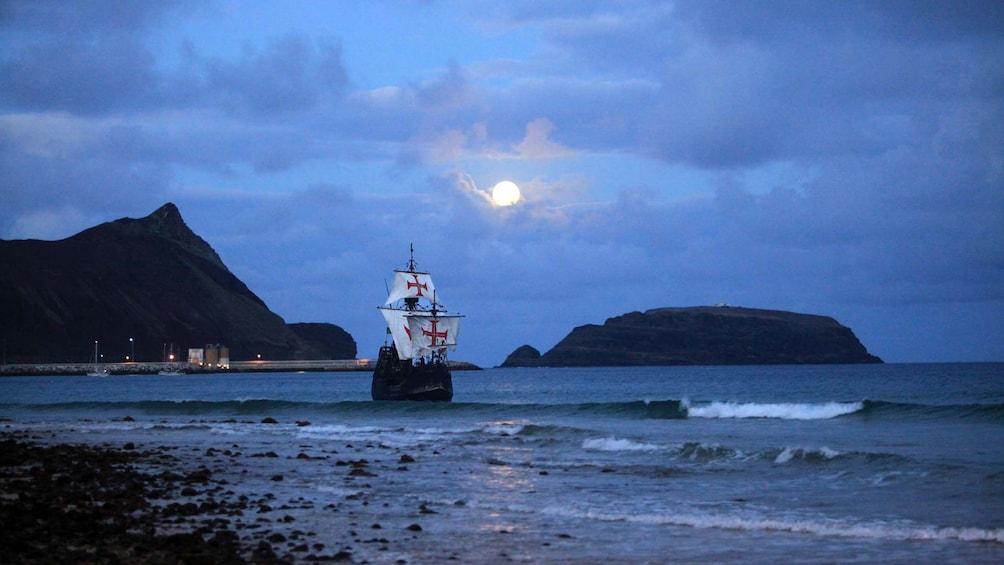 Show item 3 of 5. Nau Santa Maria ship at night in Madeira