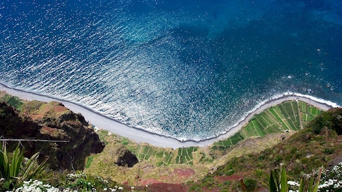 Aerial view of a road on coast of Madeira