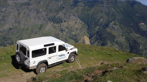 A Jeep parked at a scenic vista of Madeira