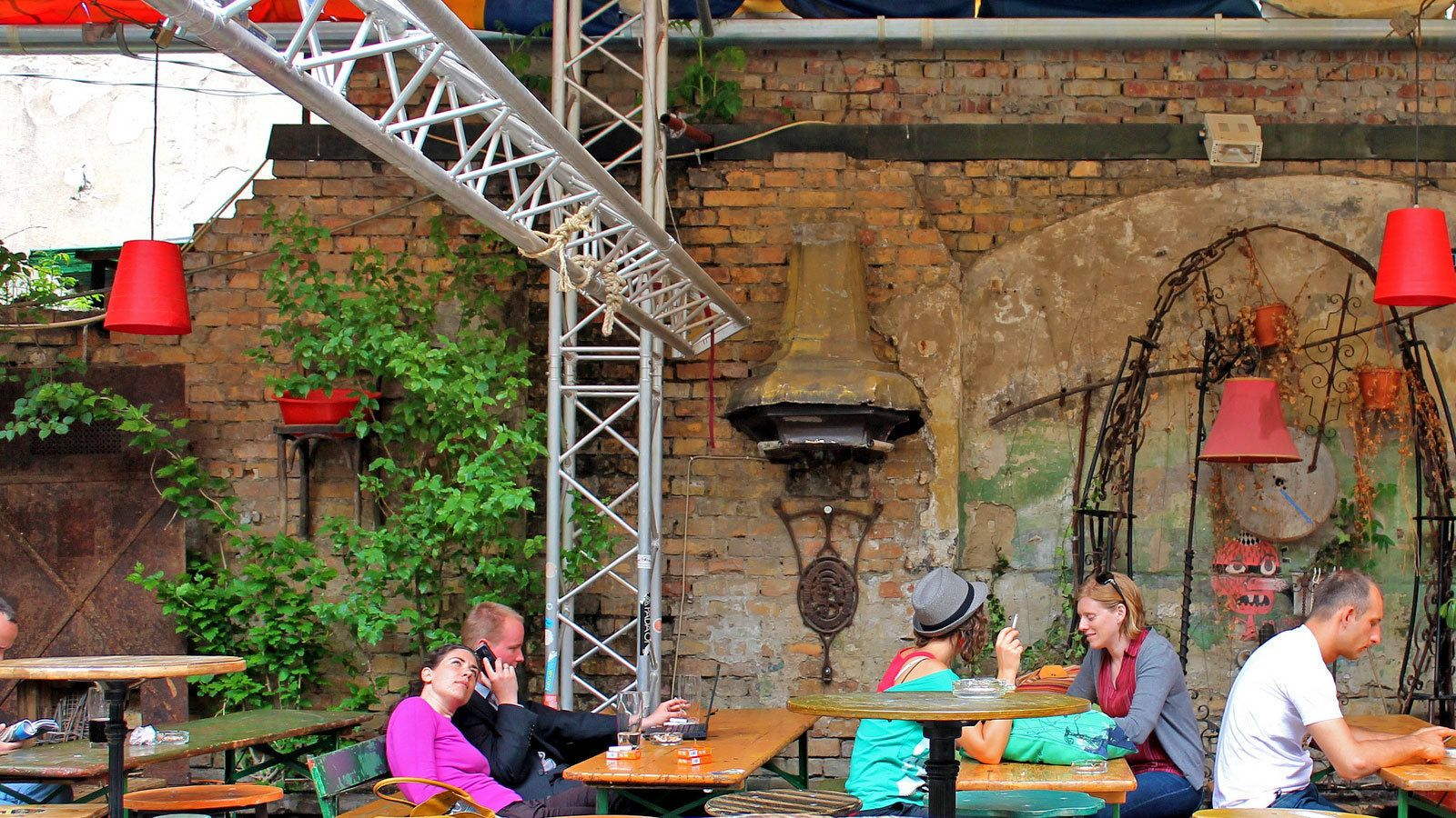 Outside dining at a cafe in Budapest