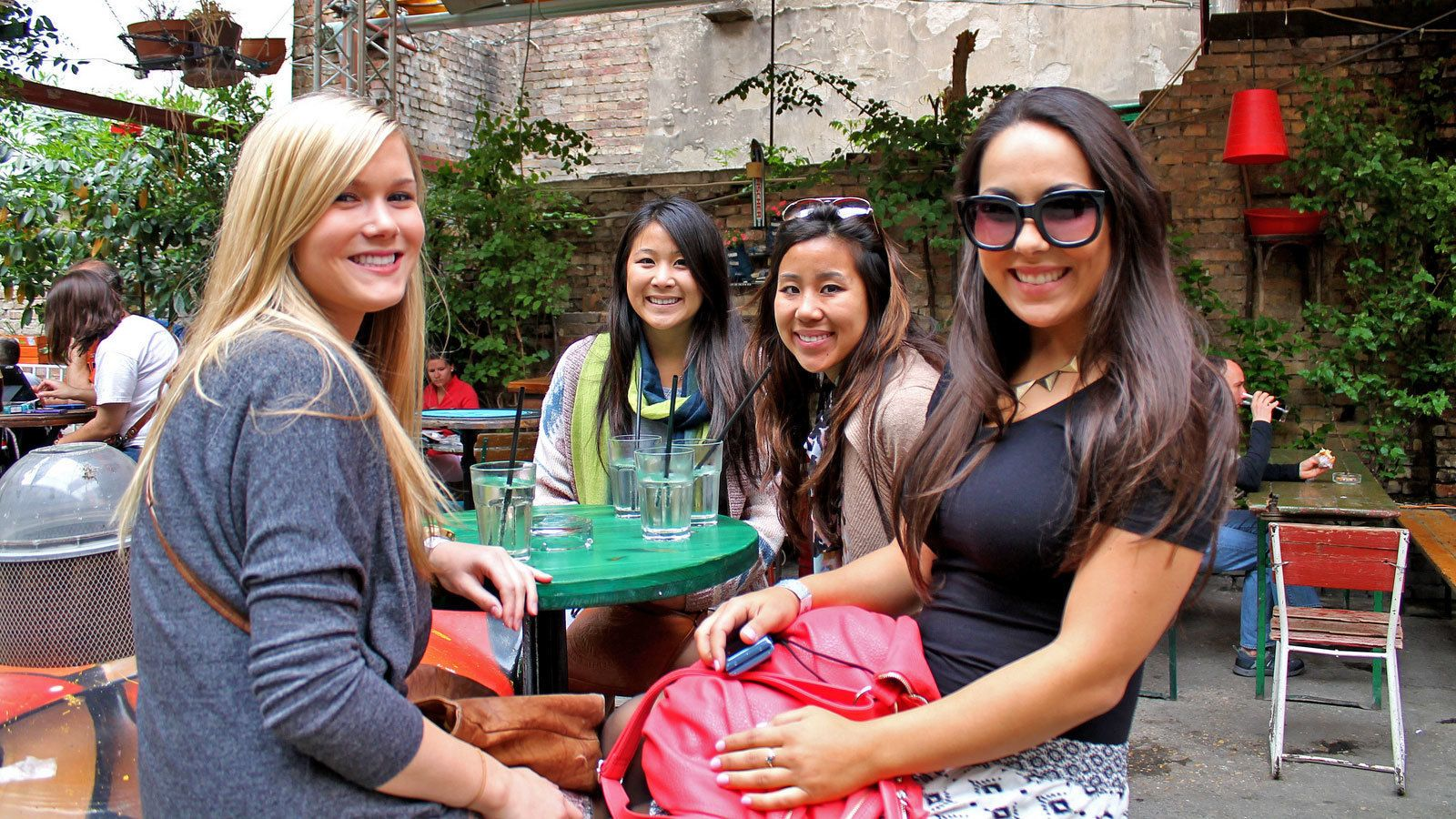 Group of women at an outdoor cafe in Budapest