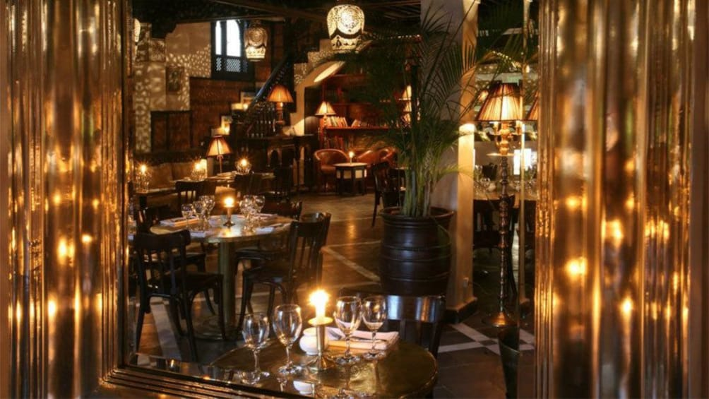 Tables set at Le Salama restaurant overlooking Jemaa el-Fnaa square